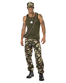 Khaki Camo Soldier Adult Mens Costume