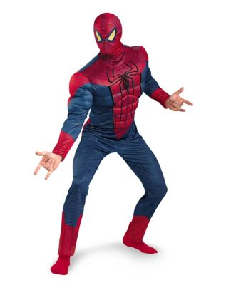 man modeling a plus size spiderman halloween costume