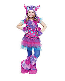 Kids Purple and Pink Dizzy Lizzie Monster Costume