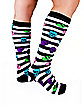 Skull Striped Knee Highs