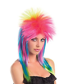 Neon Rainbow Adult Womens Wig