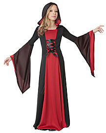 Black and Red Hooded Child Vampire Robe