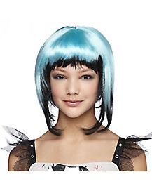 Kids Blue Black Horror Wig