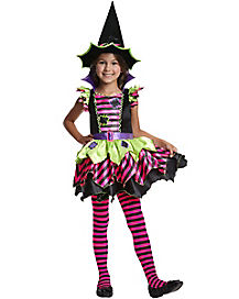 Kids Neon Patch Witch Costume