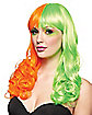 Rave Orange and Green Wig