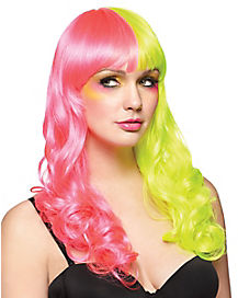 Rave Pink and Yellow Wig