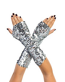 Silver Sequin Arm Warmers