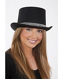 Black Top Hat with Rhinestones
