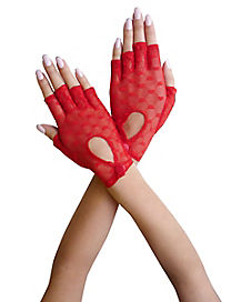 Red Heart Lace Gloves