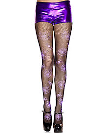 Fishnet Tights Purple Glitter Spider Web