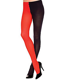 Black Red Opaque Jester Tights