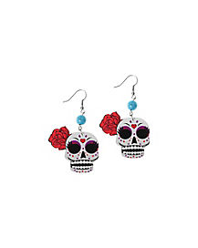 Dotted Sugar Skull Earrings