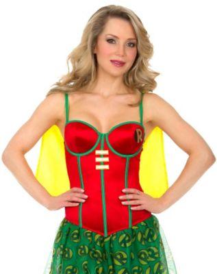 girl wearing a robin cosplay corset