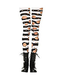 Girls Black White Stripe Ripped Tights