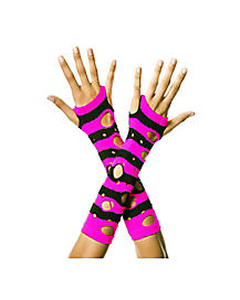 Black and Pink Tattered Armwarmers