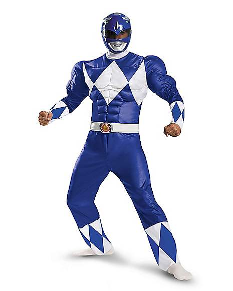 Power Rangers Blue Power Ranger Muscle Adult Costume ...
