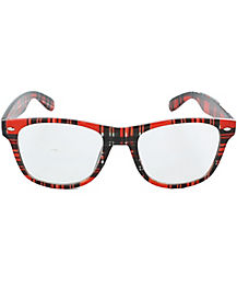 Red Plaid School Nerd Glasses
