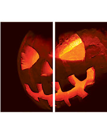 Double Scary Jack-O-Lantern Window Poster