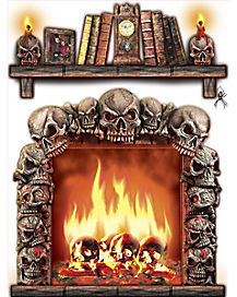 13.5 in Skull Fireplace - Decorations