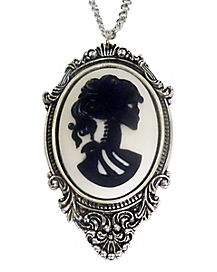 Black and White Cameo Necklace