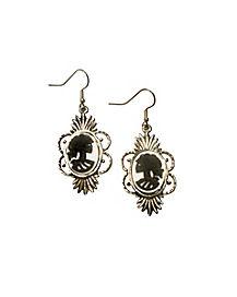 Black and White Cameo Earrings