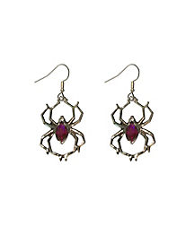 Purple Spider Earrings