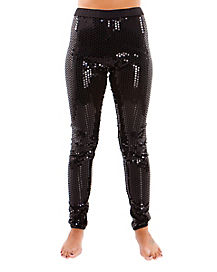 Black Sequin Adult Leggings