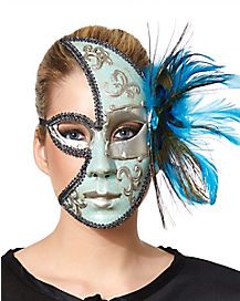 Peacock Feathered Masquerade Mask