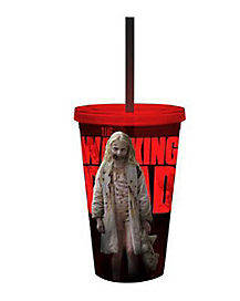 Zombie Girl Walking Dead Cup With Straw 16 oz