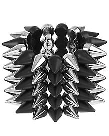 Spiked Silver and Black Bracelet