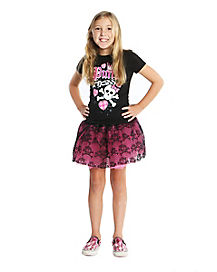 Kids Pink Cookie Skull Tutu