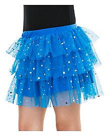 Blue Ruffle Sequin Skirt