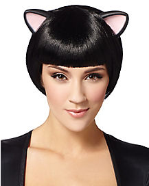 Black Bob With Cat Ears Wig