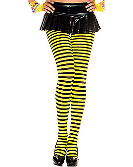 Yellow and Black Striped Tights