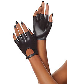 Black Button Short Pleather Glove