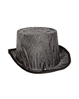 Black Torn Top Hat