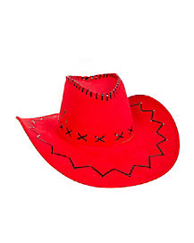 Red With Black Stitching Cowboy Hat