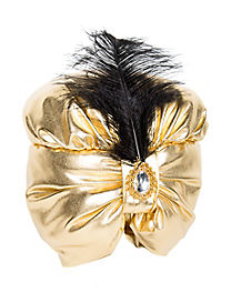 Gold Turban With Black Feather
