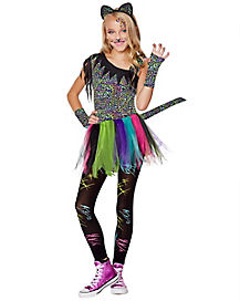 Kids Wild Rainbow Cat Costume