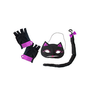Black and Purple Cat Mask Adult Costume Kit