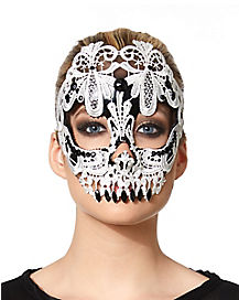 Black and White Lace Skull Mask