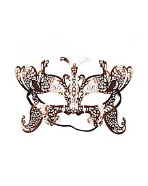 Rose Gold Metal Butterfly Mask