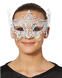 White Metal Lace Mask
