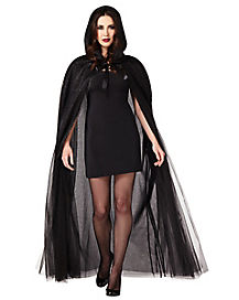Black Ghost Cape Adult Womens Costume