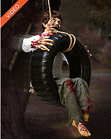 2.5 ft Tire Swing Zombie Boy Animatronics - Decorations