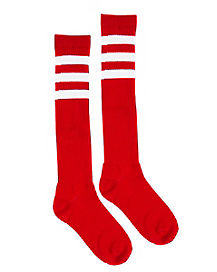 Red with White Stripe Knee High Socks