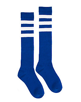 Blue with White Striped Knee High Socks