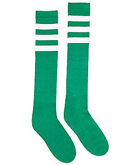 Neon Green and White Striped Knee High Socks