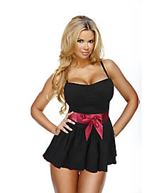 Black Peplum Top with Bow