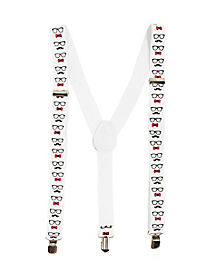 White School Nerd Print Suspenders